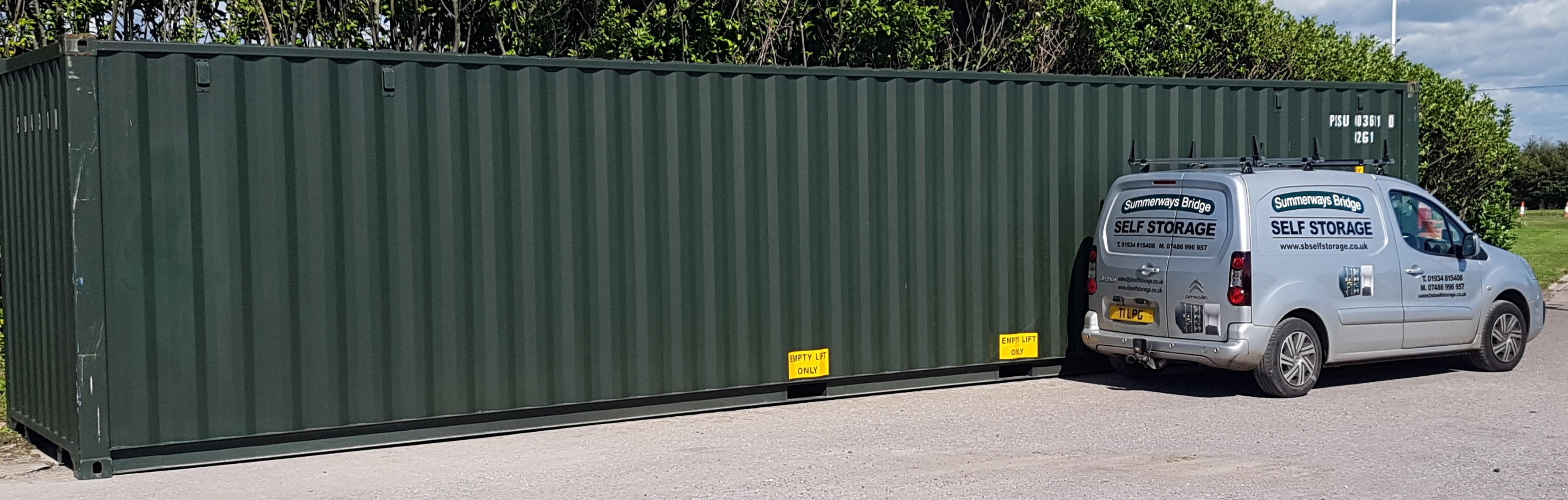 Largest container with company van